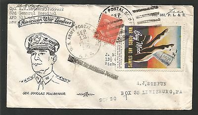 1945 Apo 522 Cover, Tied 'artists For Victory' Cinderella, Returned For Postage