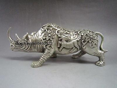Collectible Decorated Old Handwork Miao Silver Carve Rhinoceros Kirin Statue