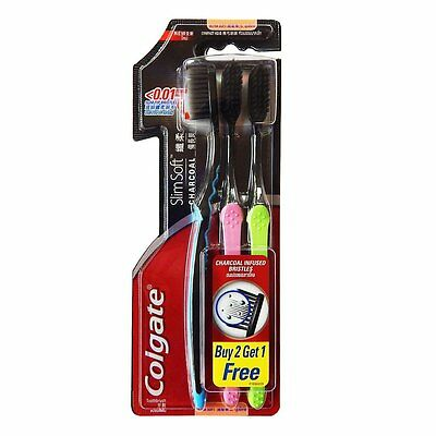 Colgate Slim Soft Charcoal Bristles Toothbrush Pack 3