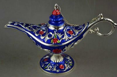 Handwork Miao Silver & Blue Cloisonne Carving Flower Noble Magical Aladdin Lamp