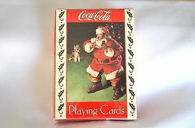 Vintage Coca Cola Santa Clause With Dog Playing Cards Christmas