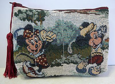 The Walt Disney Company Minnie Mickey Mouse Golfing Tapestry Cosmetic Bag Used