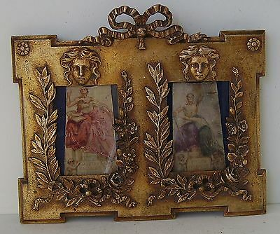 Antique Ornate Gilt Double Picture Frame Photograph With Watercolour Sketches