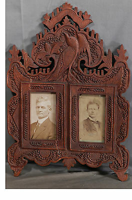 Antique Victorian Folk Art Black Forest Styl Texas Double Picture Frame CDV BIRD