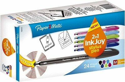 Papermate 2 In 1 Ink Joy Stylus 24 Pack Assorted Colors  Med Pt Pen New 1924372