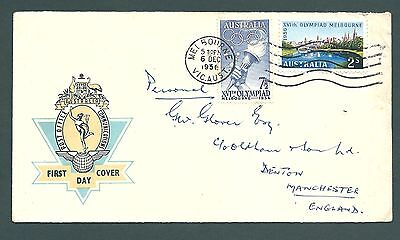 1956 OLYMPIC First Day Cover from Melbourne, AUSTRALIA to England