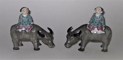 Vintage Pair of Porcelain Figurines Republic of China Men & Oxen Bookend, SIGNED