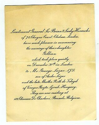 Lieutenant General Sir Brian and Lady Horrocks Daughters Marriage Announcement