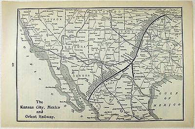 Original 1906 Map of the Kansas City, Mexico & Orient Railway