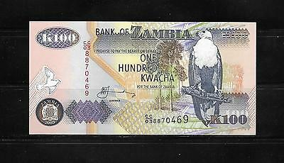 Bank Note From Zambia 100 Kwacha Crisp Unc.