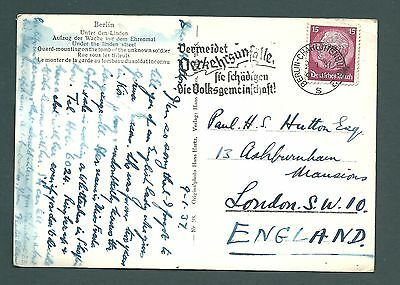 1937 Postcard - BERLIN to England - Real Photo Third Reich Troops Marching Band