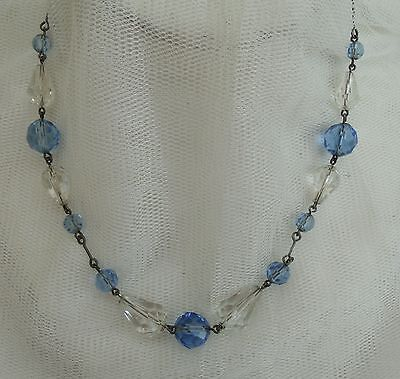 Vintage Edwardian-Art Deco Blue & Clear Crystal Glass Wire Bead Necklace