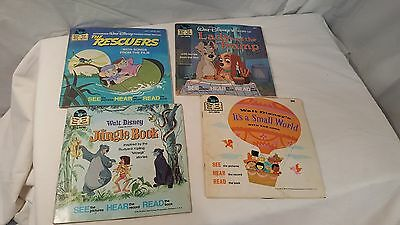 Vintage Disney book and record, lot of 4 Jungle book-It's A Small World and More