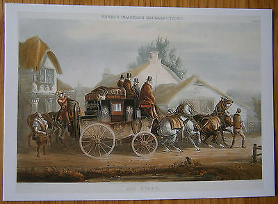 All Right Postcard Fore's Coaching Recollections Plate II Horse Drawn Mail Coach