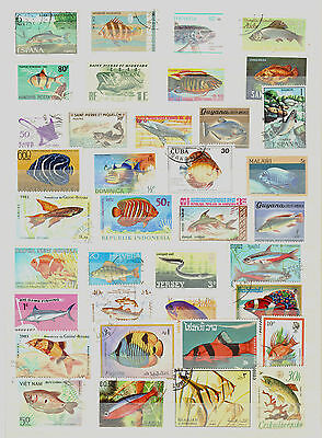 FISH - POISSON - VISSEN - PESCADO  ( Lot of 100 Different Stamps ) USED / O