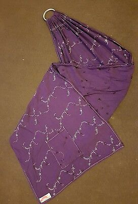 Pouchlings Floral Embroidered purple Baby/Toddler ring sling