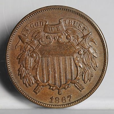 1867 Two Cent Piece - Brn Unc (#4570)