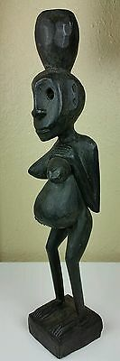 Antique African Tribal Hand Carved Wood Pregnant Female FERTILITY STATUE