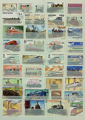 TRAINS - ZÜGE - TREINEN - TRENES  Lot of 100 Different Stamps ( Used / O )