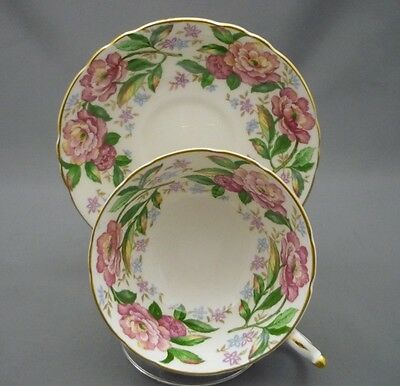 Wide Pink Green Flowers Hand Painted Paragon England Bone China Tea Cup & Saucer