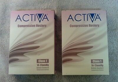 2 pairs of Activa commpresion  hosery class 1, Black, size  large.