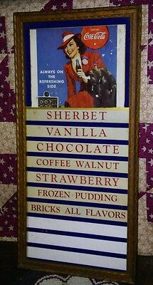 Vintage Ice Cream Sign Menu Coca Cola Advertisement Coke *Nice Glass Top Frame*