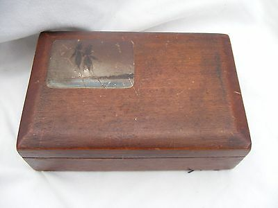 1930's old velvet lined box, with small painting on the lid.