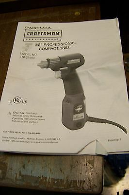 Craftsman 310279960 Drill Parts ~ instruction manual