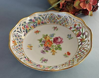 Dresden German hand painted  Reticulated bowl