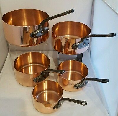 Super Vintage French All Copper Sauce Pan Set - 5 Pans 1mm Thick Copper.