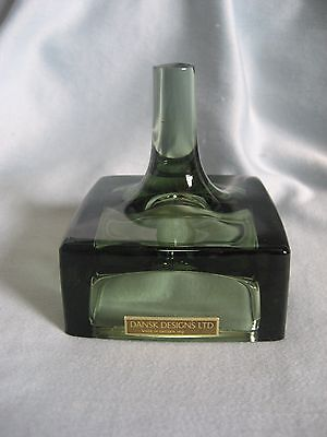 JENS QUISTGAARD  for DANSK 1962 GREEN ART GLASS CANDLE/RING HOLDER, PAPERWEIGHT