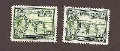 Turks & Caicos Is 1938 GVI 1/2d shades sg195,195a, cat £9.75, toning on sg195