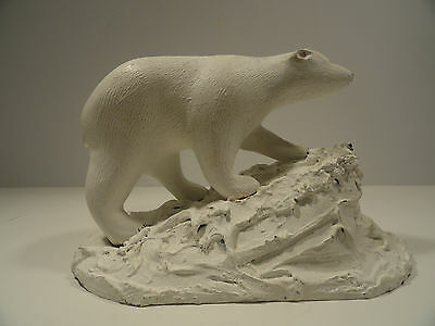 Wood Carved Polar Bear Statue / Figurine