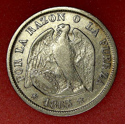 Chile, 20 Centavos 1865, Km# 135, Nice Silver Coin, Lot 17