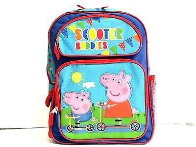 "Peppa Pig Scooter Buddies Girl's 16"" Canvas Blue School Backpack Book Bag"
