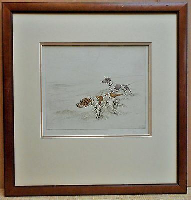 George Vernon Stokes RBA, Pointers. Drypoint Colour Etching , Signed circa 1920