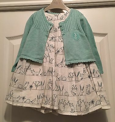 Bnwt Next Girls Dress Cardigan And Tights Outfit Age 9-12 Months