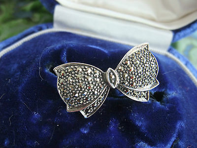 Vintage Silver And Marcasite Bow Brooch