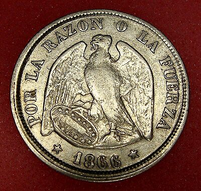 Chile, 20 Centavos 1866, Km# 135, Nice Silver Coin, Lot 20