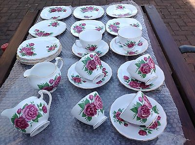 Vintage Fine Bone China Tea Set Pink Roses 24 Piece Wedding Tea Shop Royal Vale