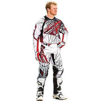 """New 32"""" M Adult Fly Evolution Jersey Pants Kit Spike White Red Motocross Sale!"""