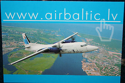 AK Airliner  Postcard AIR BALTIC F-50 airline issue