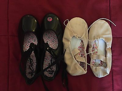 Capezio Ballet & Tap Shoes Lot, Girls Toddler Size 13 Pre-owned