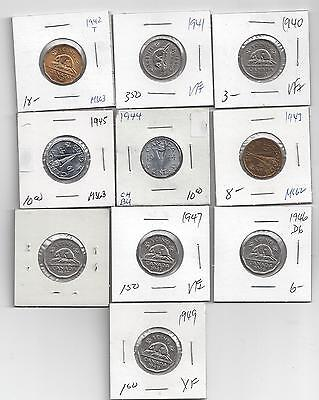 Lot of 10 Canada 5 Cent Coins 1940-1949