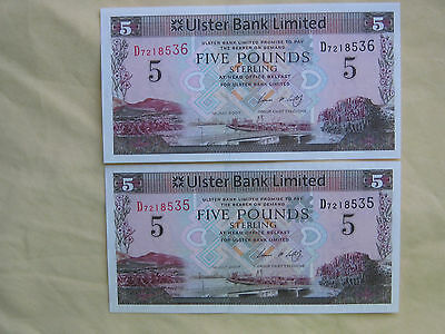 Ulster Bank Limited One Pound Bank Note Uncurculated Consecutive Prefix