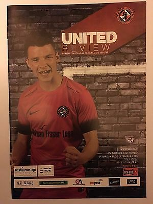 DUNDEE UNITED v PETERHEAD CHALLENGE CUP FOOTBALL PROGRAMME 03/09/2016