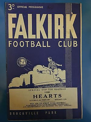 FALKIRK v HEARTS SCOTTISH CUP FOOTBALL PROGRAMME 06/02/1965