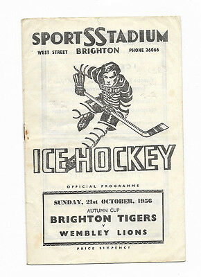 Ice Hockey Programme 21 October 1956 - BRIGHTON TIGERS v. WEMBLEY LIONS