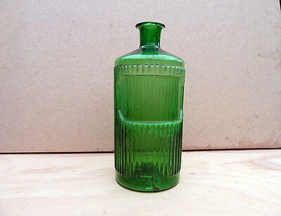 Vintage Large Green Apothecary / Chemist / Pharmacy Bottle By York Glass Co
