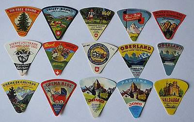 A selection  of 15 Triangle Vintage Cheese Labels #98